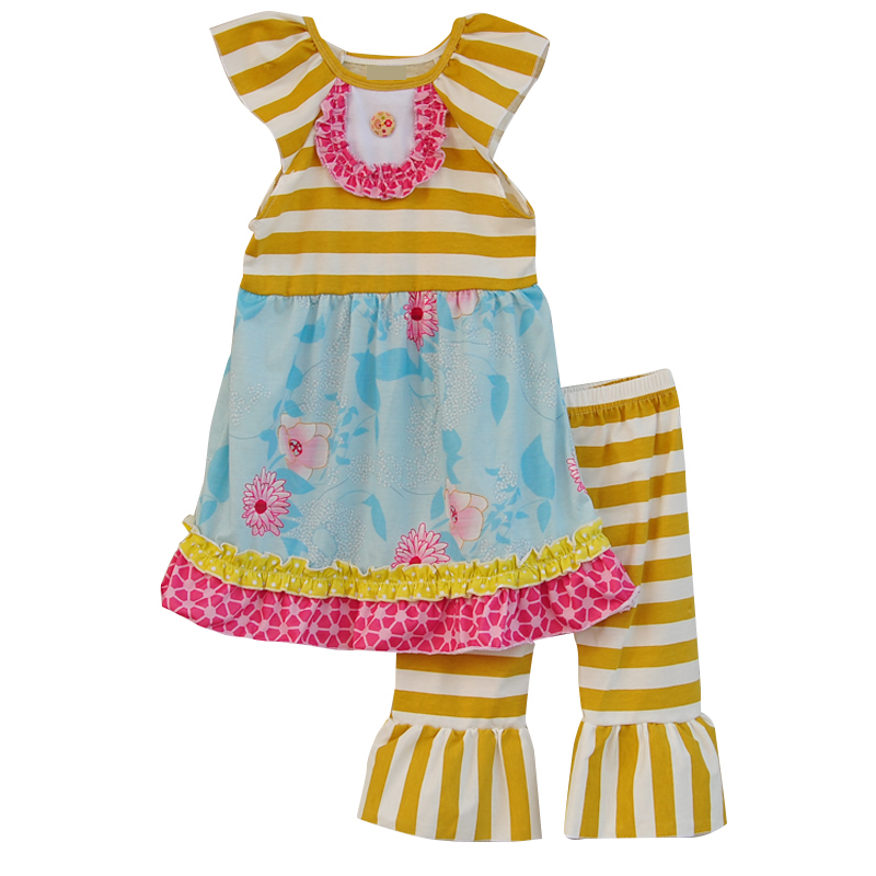 Girls Boutique Outfit - 2 piece Yellow Striped Floral Ruffle Pant Set