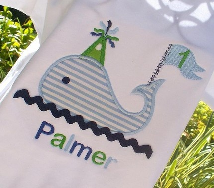 Boys Personalized Appliqued Tee- Blue Green Whale