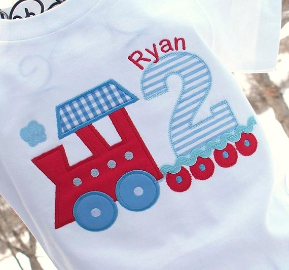 Boys Personalized Appliqued Train Transportaion Birthday Tee- Red, Blue, Light Blue