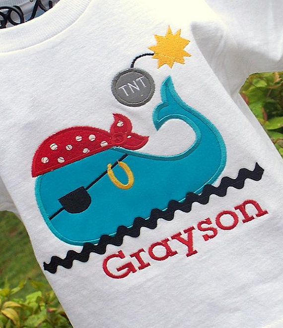 Boys Pirate Themed Whale Tee with Name and Birthday Age (optional)