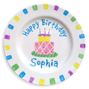 Children's Personalized Plate Birthday Cake Girl