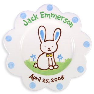 Children's Personalized Birth Plate Bunny Boy
