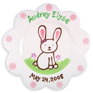 Children's Personalized Birth Plate Bunny Girl