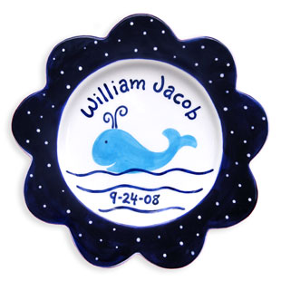 Children's Personalized Birth Plate Preppy Whale Boy