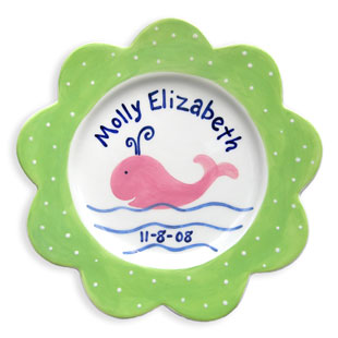 Children's Personalized Birth Plate Preppy Whale Girl