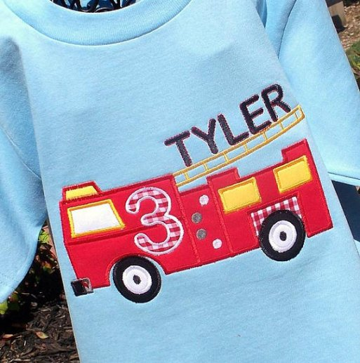Boys Appliqued Firetruck Tee with Name and Birthday Age (optional)
