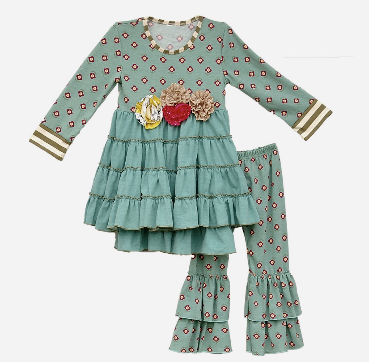 Girls Boutique Outfit - 2 piece Teal Floral Ruffle Dress and Pants Set