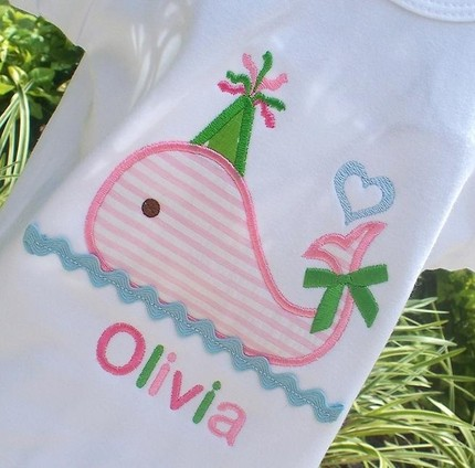 Girls Personalized Appliqued Birthday Tee- Pink Whale