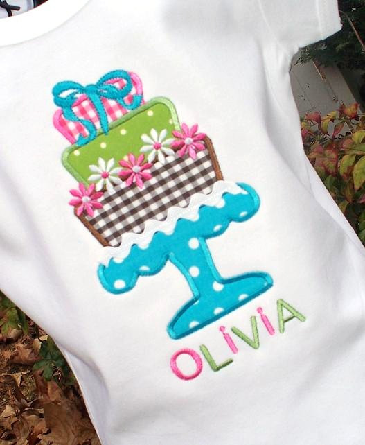 Girls Personalized Appliqued Birthday Cake Tee- Blue, Pink, Green, Brown