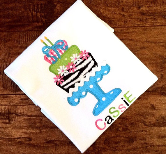 Girls Personalized Appliqued Birthday Cake Tee