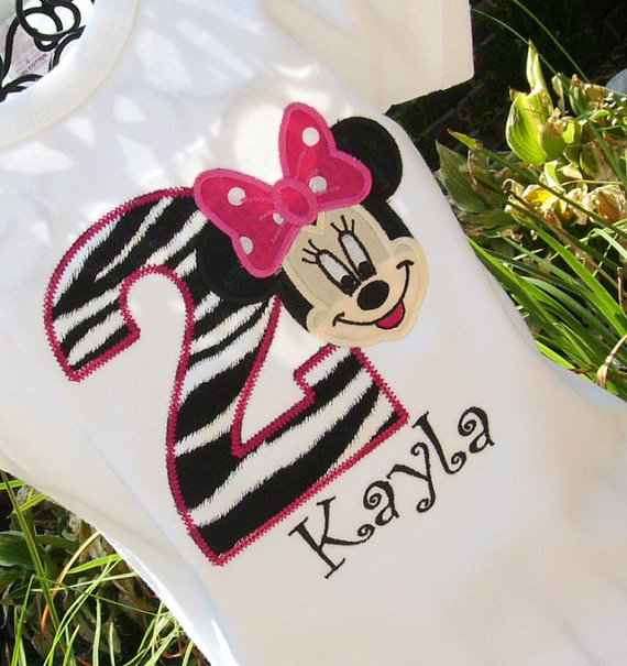 Girls Appliqued Minnie Mouse Birthday Age Tee with Name- Zebra