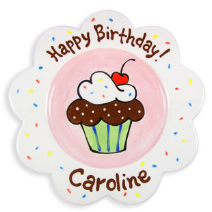 Children's Personalized Plate Sprinkle Cake Girl