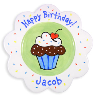 Children's Personalized Plate Sprinkle Cake Boy