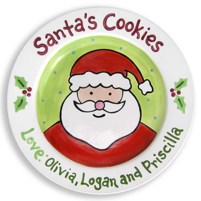 Personalized Santa Christmas Plate- Cookies From Us