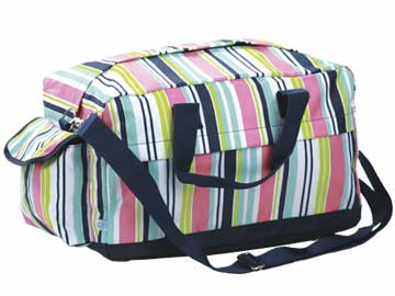 Preppy Navy Stripe Overnight Duffle Bag