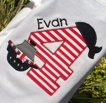 Personalized Appliqued Pirate Theme Birthday Tee