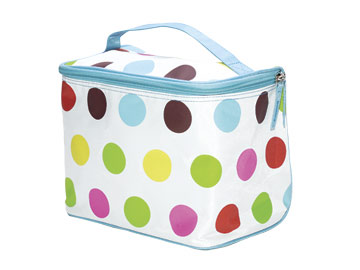 Polka Dot Cosmetic Train Case