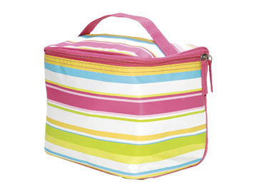 Preppy Pink Stripe Cosmetic Train Case