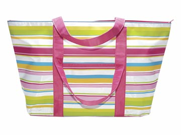 Preppy Pink Stripe Large Tote