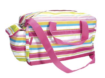 Preppy Pink Stripe Overnight Duffle Bag