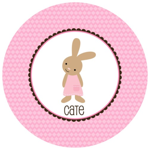 Classic Bunny Girl Plate Personalized