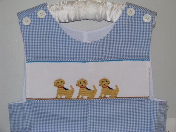 Boys Smocked Puppy Jon Jon